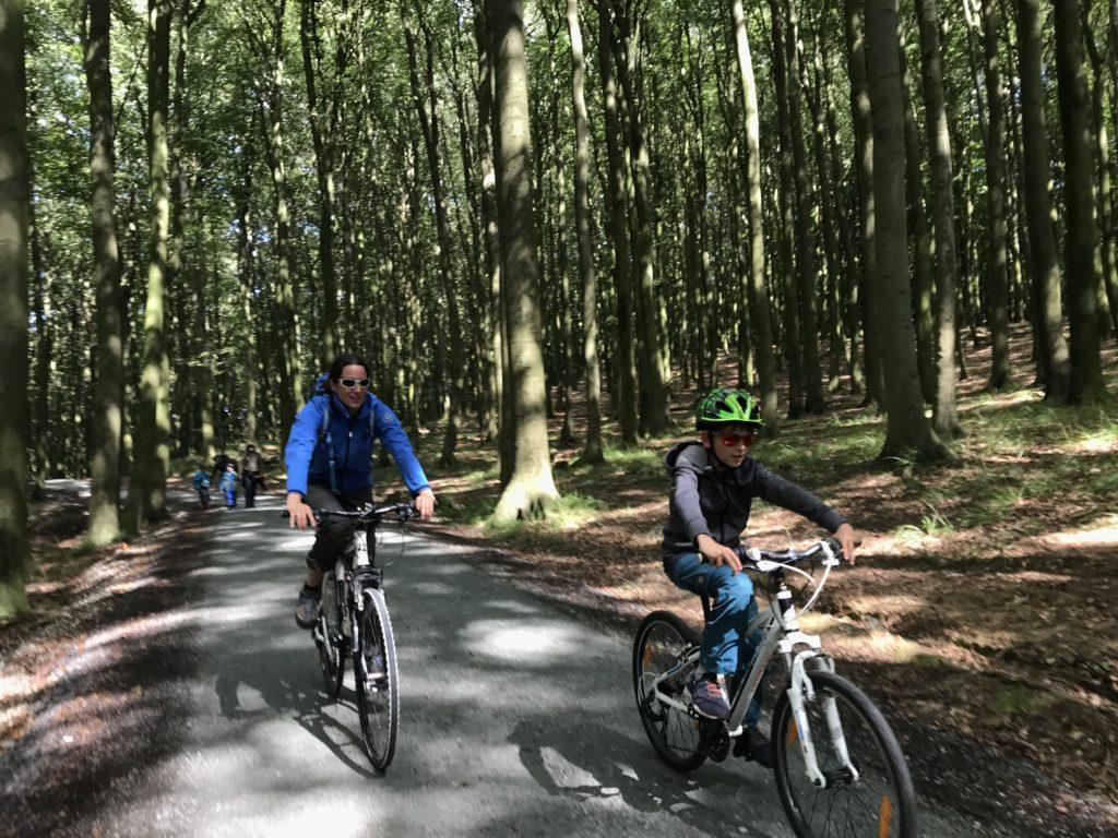 Zu den Kreidefelsen Rügen mit dem Fahrrad - vom Parkplatz bis zum Nationalparkzentrum ist es offiziell erlaubt, entlang der Kreideküste verboten