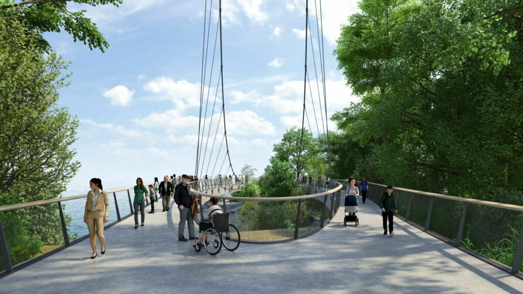 Skywalk Königsstuhl - 90 Meter lang, 19 Meter breit, für Fußgänger Kinderwagen und Rollstuhl, Bild: Nationalpark Zentrum Königsst