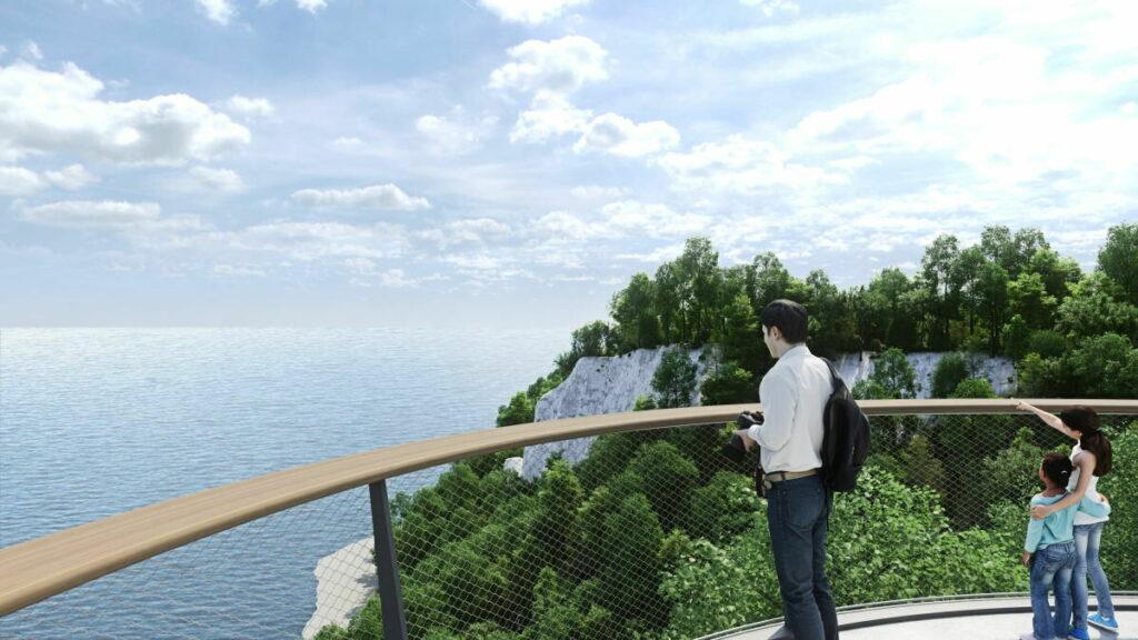 Visualisierung des Skywalk Sassnitz - so soll der Ausblick am Skywalk Königsstuhl künftig sein, Bild: Nationalpark Zentrum Königsstuhl